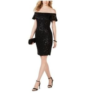 Nightway Womens Lace Sequined Party Dress